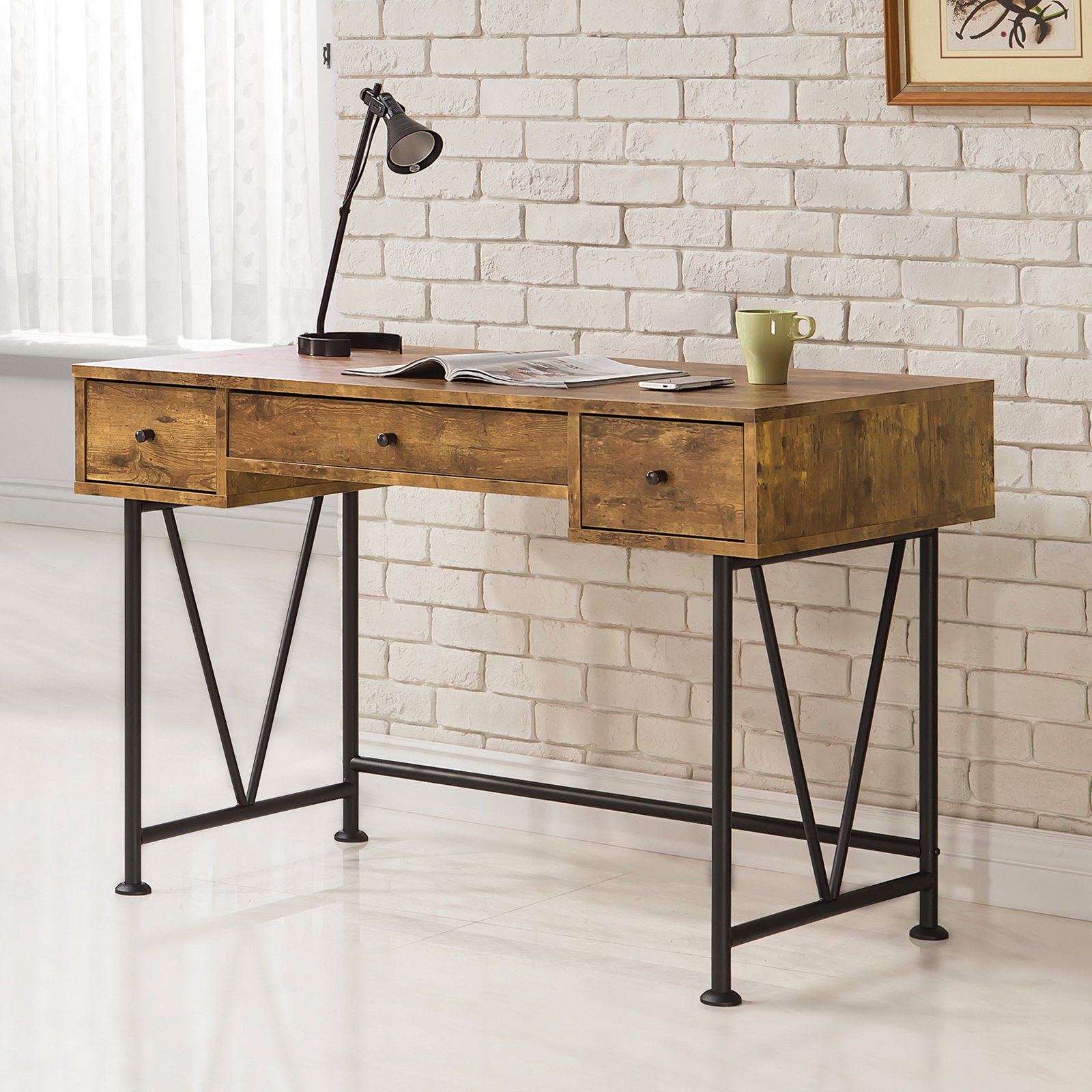 Coaster Company Writing Desk, Antique Nutmeg, Black