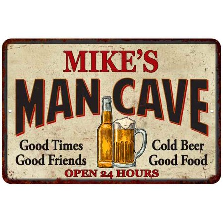 MIKE'S Man Cave Personalized Metal Sign Wall Decor Gift 8x12