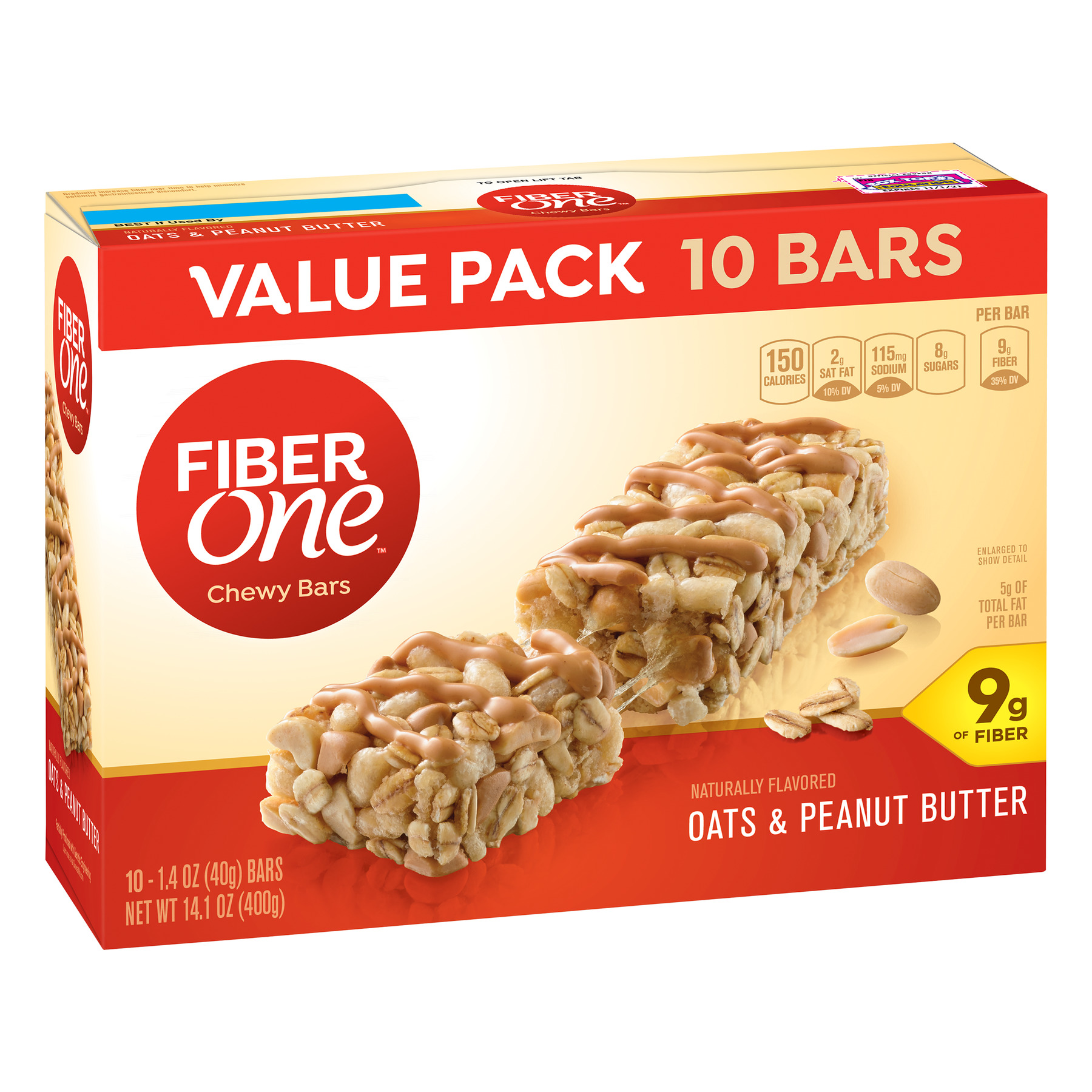 Fiber One Chewy Bar, Oats and Peanut Butter, 10 Fiber Bars, 14.1 oz (Value Pack)