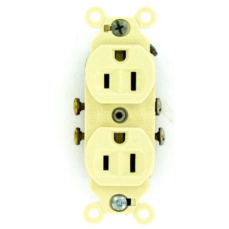 Ivory Eagle - Eagle Ivory INDUSTRIAL Straight Blade Duplex Outlet Receptacle 5-15R 15A 5242V
