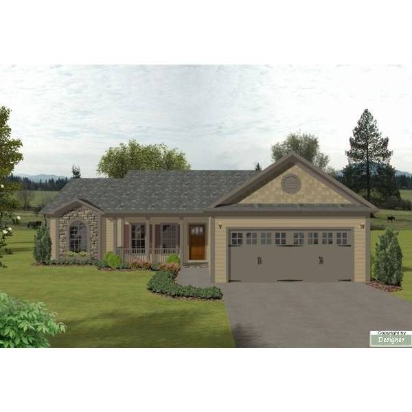 TheHouseDesigners-6281 Ranch House Plan with Slab Foundation (5 Printed Sets)