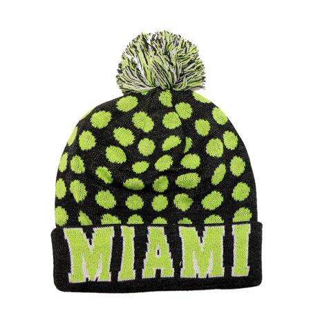 053ce0cecd16d City Hunter Sk1150 Miami Dots Knit Beanie Hats (Dark Grey neon Lime) -  Walmart.com