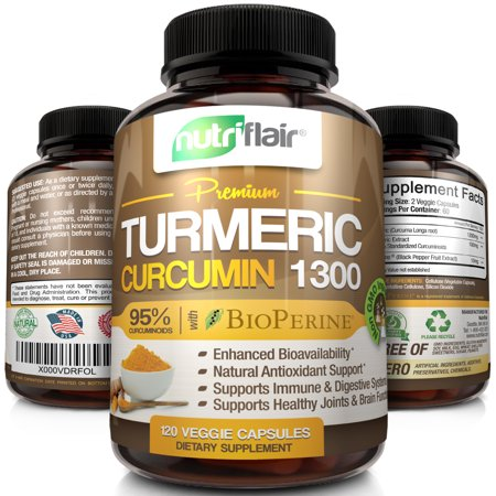 Nutriflair Premium Turmeric Curcumin with BioPerine Black Pepper Capsules, 1300mg, 120 ct