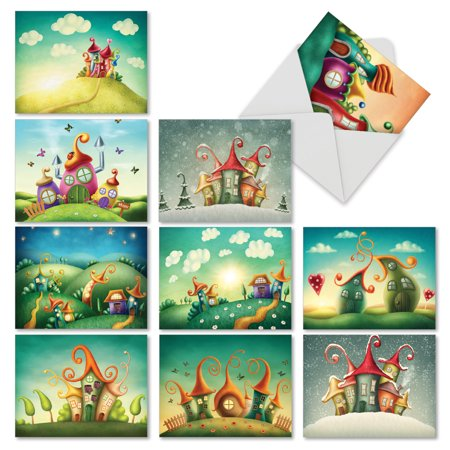 'M6476OCB FANTASY SUITES' 10 Assorted All Occasions Note Cards Featuring Colorful and Fantastic Miniature Houses with Envelopes by The Best Card