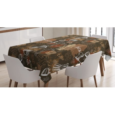Modern Decor Tablecloth, Coffee Culture Theme with Italian Espresso French Press Tea Artwork, Rectangular Table Cover for Dining Room Kitchen, 52 X 70 Inches, Caramel Brown Redwood, by Ambesonne