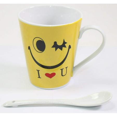 "Funny Yellow Winking Emoji ""I <3 U"" Coffee Mug with Stirring Spoon Funny Gift New"