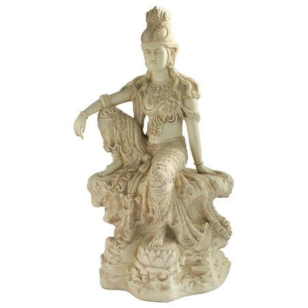 Seated Kuan Yin Statue - Culture Spot Relaxed Kuan Yin Garden Statue in Stone Finish, 18.5 Inches