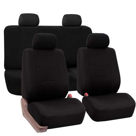 - FH Group Universal Flat Cloth Fabric Car Seat Cover, Full Set, Black