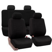 FH Group Universal Flat Cloth Fabric Car Seat Cover Full Set Black