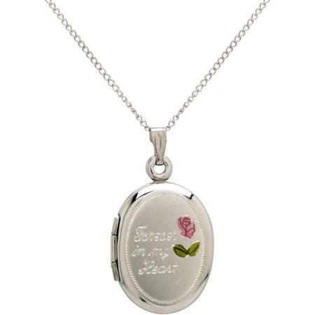 Oval  Forever In My Heart  And Painted Rose Sterling Silver Locket Pendant  18