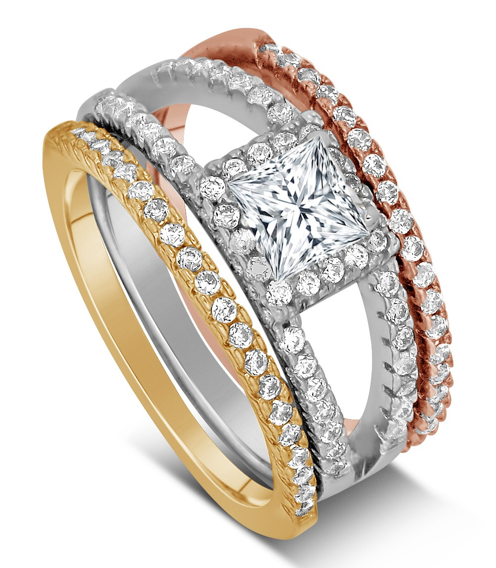 2 Carat Princess Cut Tri Color White Rose And Yellow Gold Trio Colour Ring Las Wedding Band