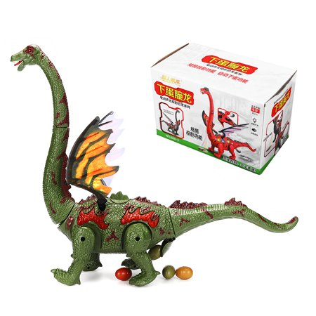 Electric Walking Dinosaur Brachiosaurus Toy w/ Double Wings, Walking Movement, Egg Laying Action, Light Up Stomach, Projection Lights and Sounds Kids Gift - Green (W Wing)