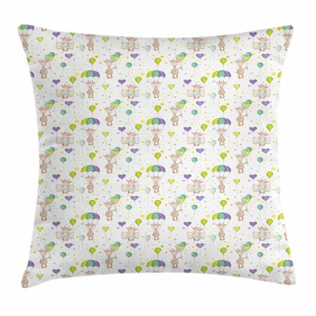 Baby Throw Pillow Cushion Cover, Infant Giraffes Flying with Balloons with Polka Dotted Background Newborn Love Hearts, Decorative Square Accent Pillow Case, 16 X 16 Inches, Multicolor, by Ambesonne (Flying Heart)