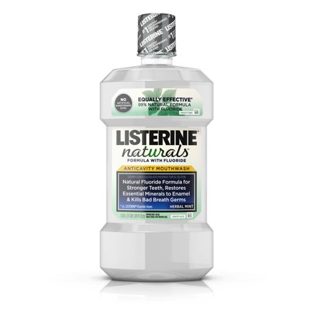 (2 pack) Listerine Naturals Anticavity Fluoride Mouthwash, Herbal Mint, 1 L ()