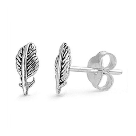 925 Sterling Silver Feather Stud Earrings