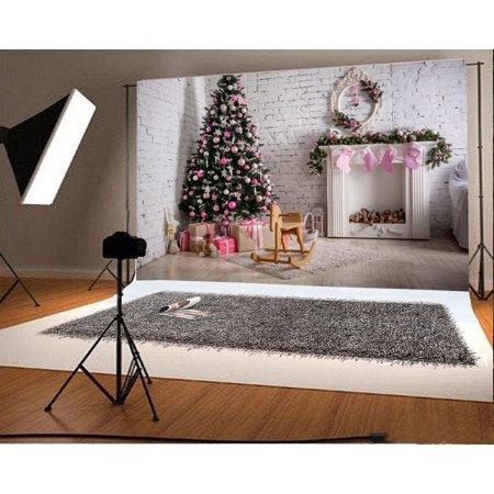 HelloDecor Polyester 7x5ft Backdrop Decorated Christmas Tree Photography Chimney Gifts Box Hobby Horse Brick Wall Wood Floor White Fireplace with Hung Pink Stoc
