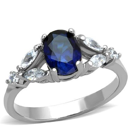 New 316L Stainless Steel Montana Blue Oval Engagement Fashion Ring Sizes (Montana Fashion)