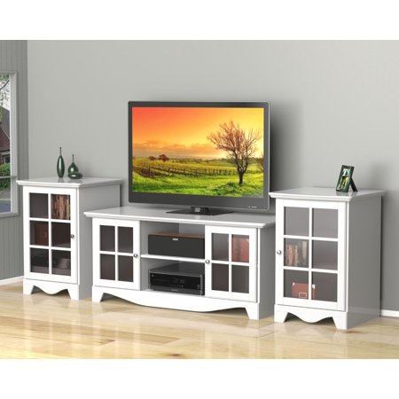Pinnacle 56-inch TV Stand with Two 1-Door Audio Towers-Finish:White
