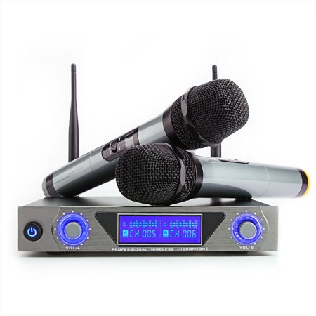 ARCHEER UHF Wireless Microphone Receiver System with 2 Cordless LCD Display Handheld Dynamic Microphones - For Outdoor Wedding Conference Karaoke Microphone Systems Party