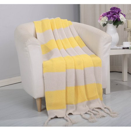 ClassicHome Woven Vintage Stripe Knitted Throw Blanket with Fringe (50