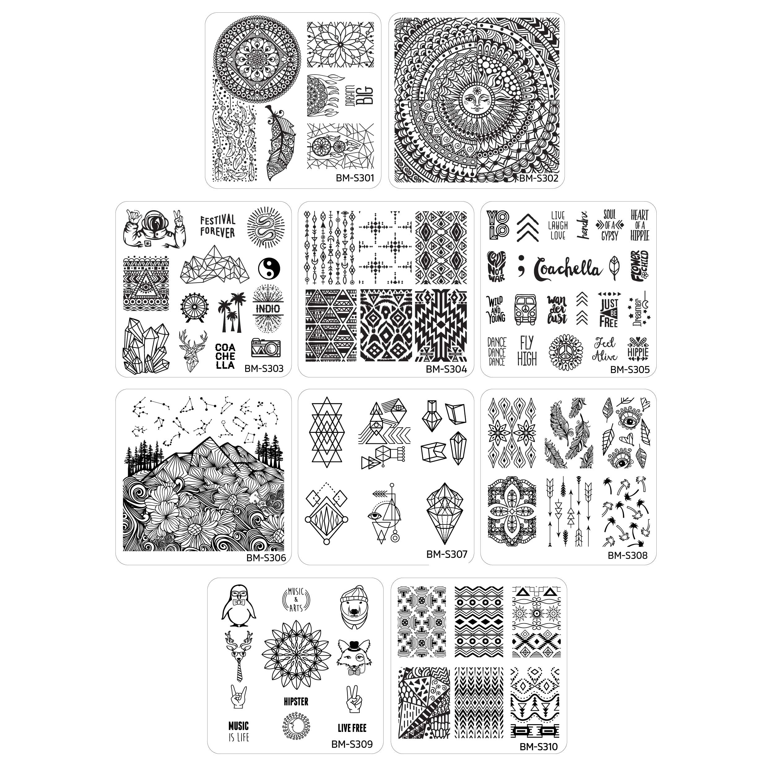 10pc Festival Nail Art Manicure Stamping Plates Collection