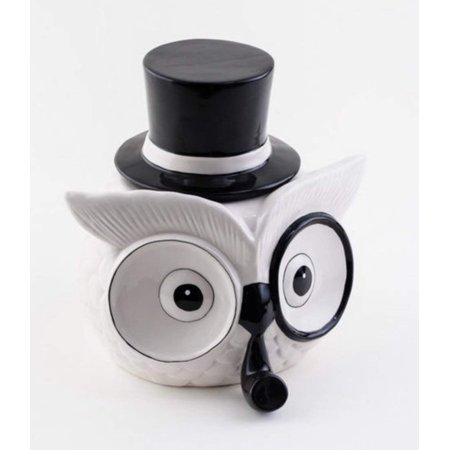 Owl Cookie Jar Ceramic with Monocle, Pipe and Lid Black and White Kitchen Decor Farmhouse