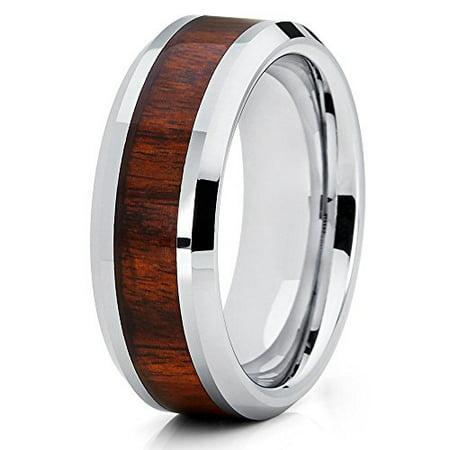 Koa Wood Tungsten Ring Tungsten Carbide Ring Men & Women Tungsten Wedding Band 8mm Comfort (Wood Womens Ring)