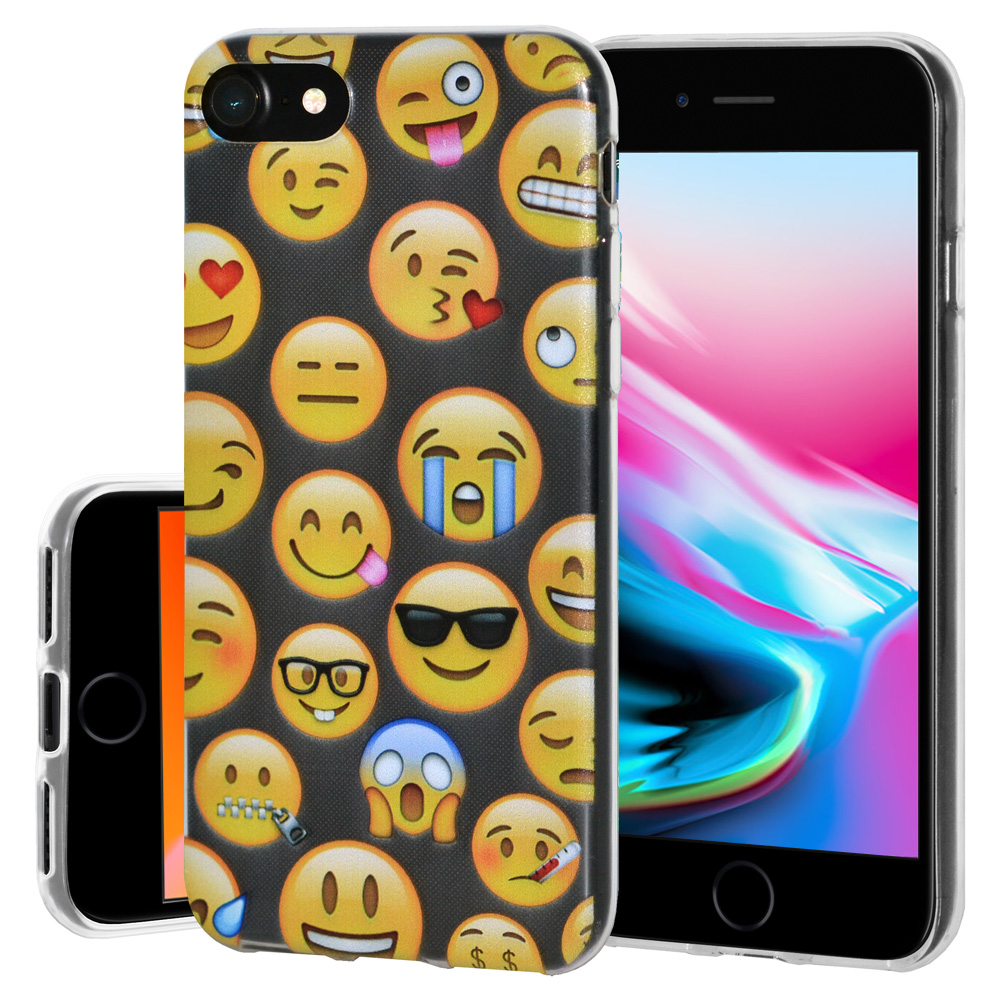 iPhone 8 Case, Premium Soft Gel Clear TPU Graphic Emoji Skin Case Cover for Apple iPhone 8 - Mixed Emotions, Support Wireless Charging, Slim Fit, ShockProof