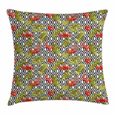 Rowan Throw Pillow Cushion Cover, Geometrical Vintage Pattern with Autumn Season Berries Mountain Fruits, Decorative Square Accent Pillow Case, 18 X 18 Inches, Olive Green Red Black, by Ambesonne