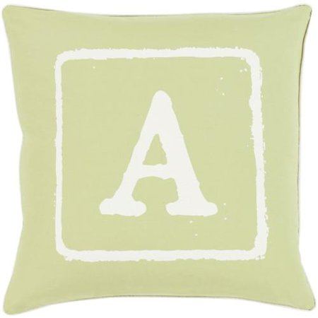 """18"""" Lime Green and Ivory """"A"""" Big Kid Blocks Decorative Throw"""