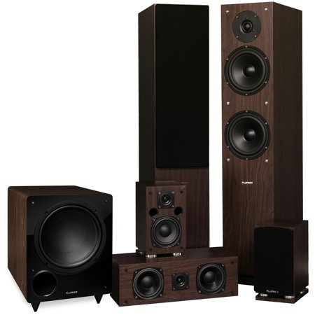 Fluance Elite Series Surround Sound Home Theater 5.1 Channel Speaker System including Three-way Floorstanding, Center Channel, Rear Surround Speakers and a DB10 Subwoofer - Walnut