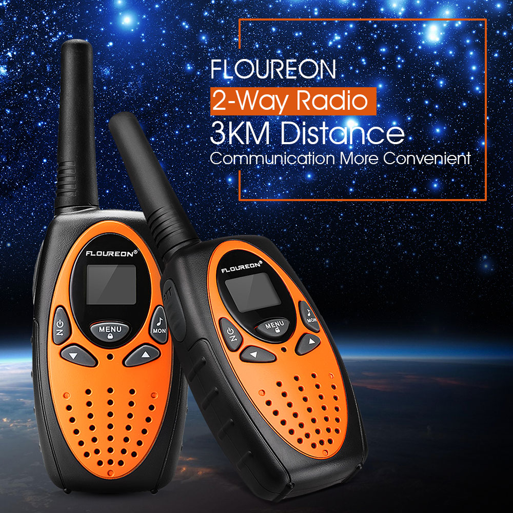 FLOUREON 2 Packs Handheld Walkie Talkie, 22 Channel 3000M (MAX 5000M open field) UHF Long Range Two Way Radios (Orange/Black)