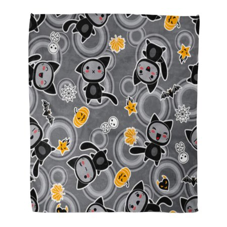 ASHLEIGH Flannel Throw Blanket Funky Orange Fun Kawaii of Halloween Related and Creatures Soft for Bed Sofa and Couch 50x60 Inches](A Halloween Related Gathering)