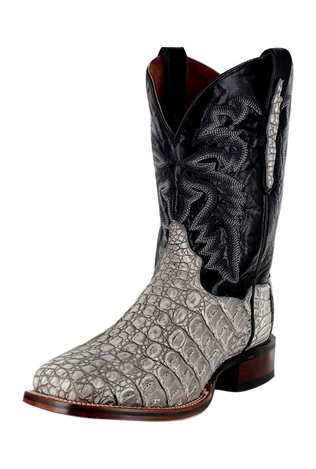 Dan Post Men's Denver Caiman Embroidery Cowboy Square Toe Boots Grey Leather 8 EW by DAN POST