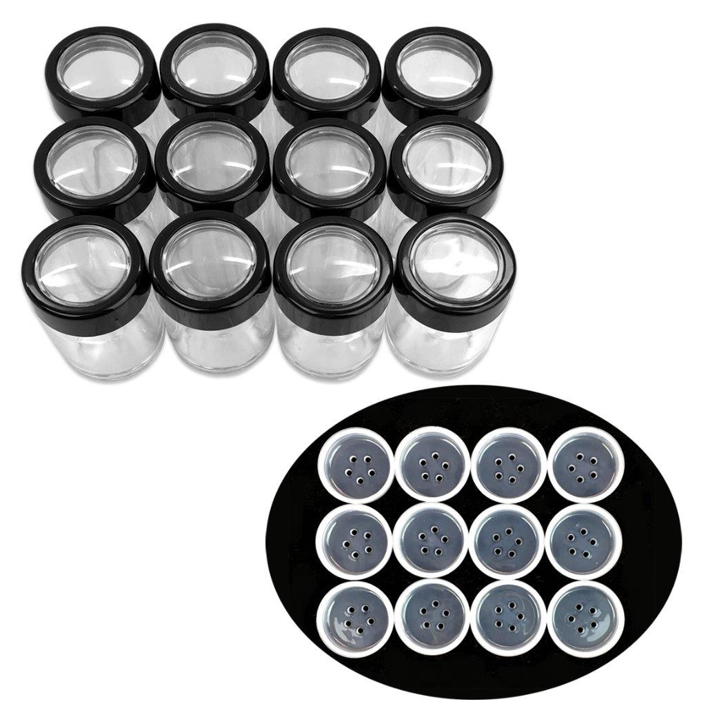 Beauticom 12 Pieces High Quality 10 Gram 0.3 Ounces Clear Cylinder Makeup Cosmetic Powder Sifter Travel Jar... by