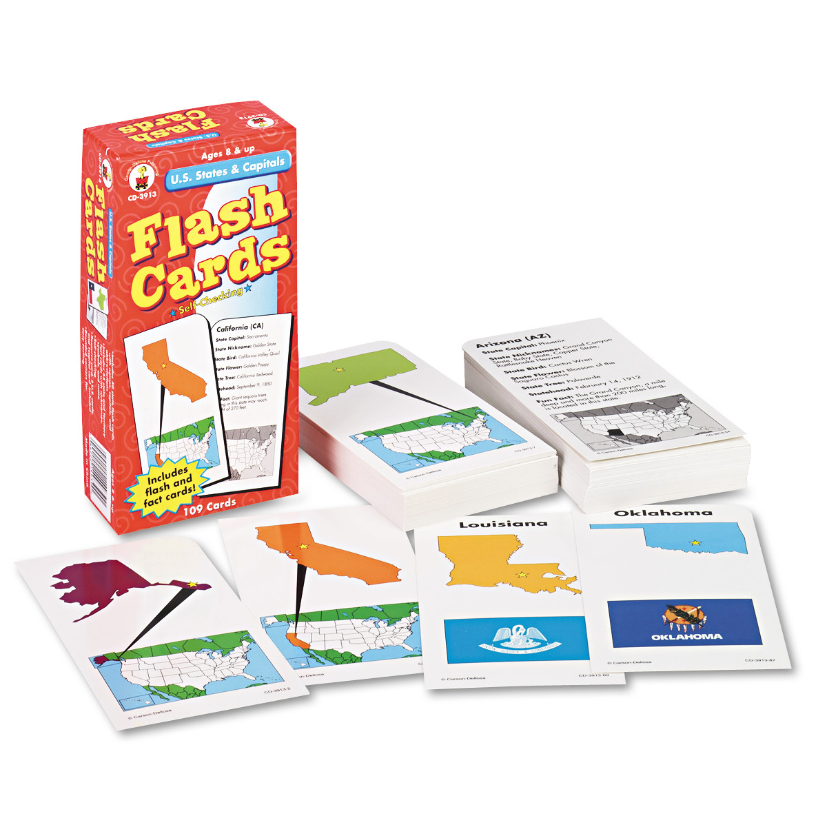 Carson-Dellosa Publishing Flash Cards, U.S. States and Capitals, 3w x 6h, 109/Pack -CDPCD3913