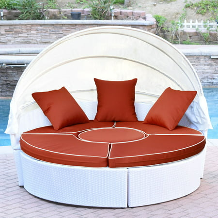Jeco All-Weather Wicker Sectional Outdoor Daybed with Canopy ()