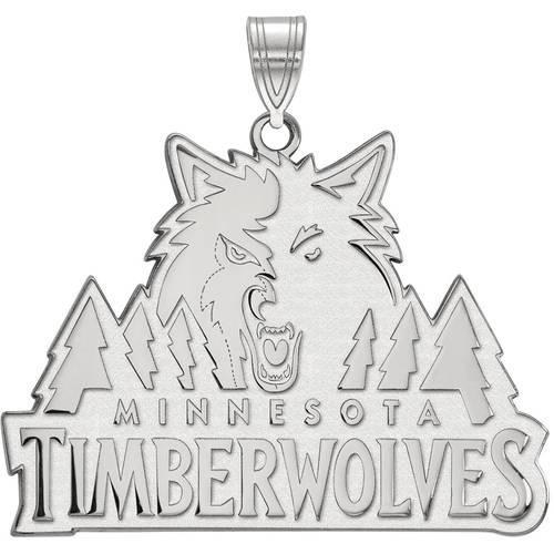 LogoArt NBA Minnesota Timberwolves 10kt White Gold Extra Large Pendant