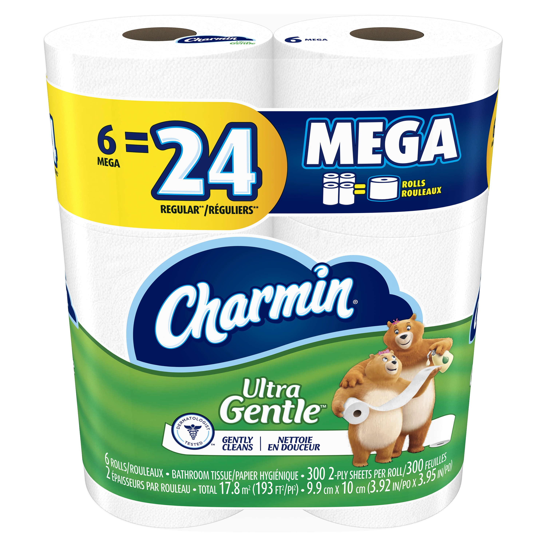 Charmin Ultra Gentle Toilet Paper, 6 Mega Rolls by Procter & Gamble