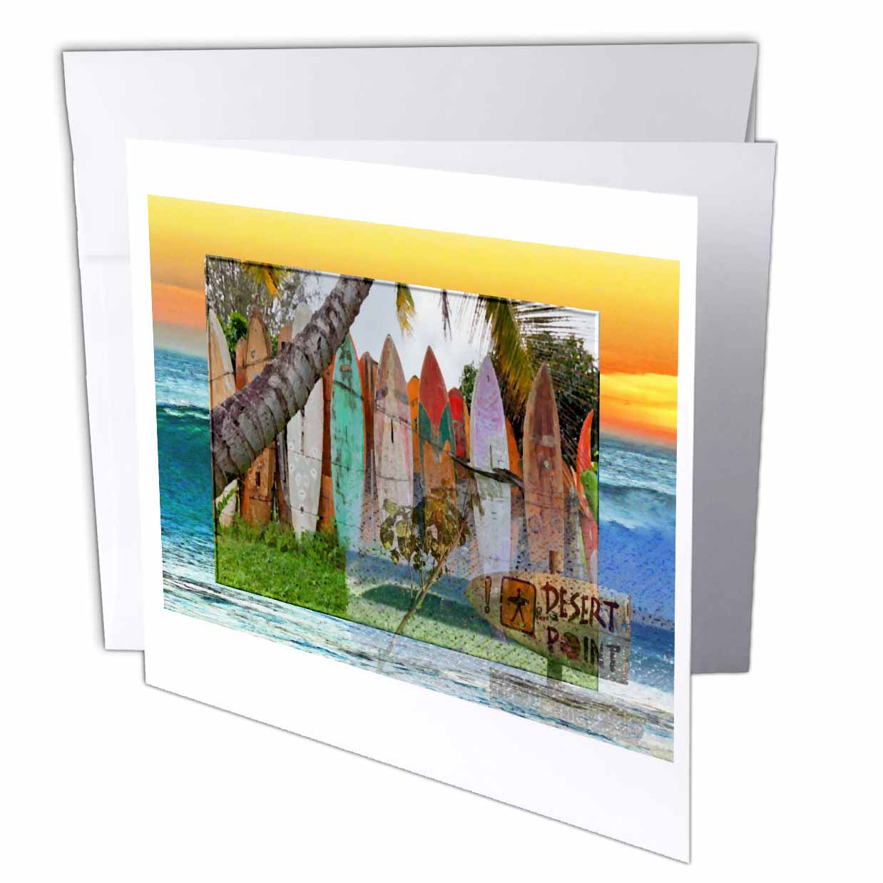 3dRose Desert Point Surfing Spot with Collage Surfboard background, Greeting Cards, 6 x 6 inches, set of 6