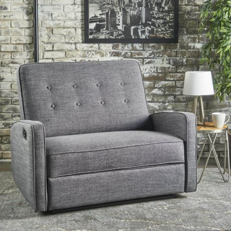 Noble House Buttoned Fabric Reclining Loveseat,Grey