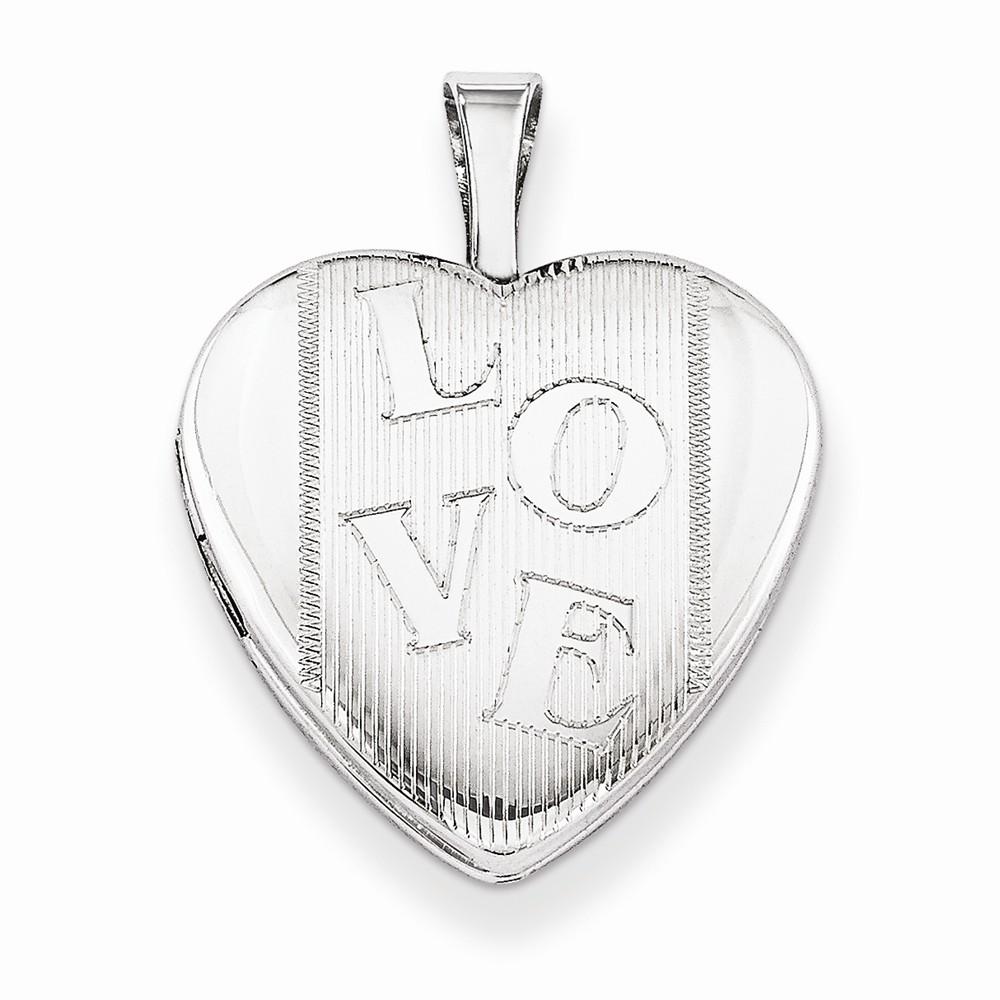 Sterling Silver 0.6IN LOVE Heart Locket w/ 18in Chain (0.7IN x 0.6IN )