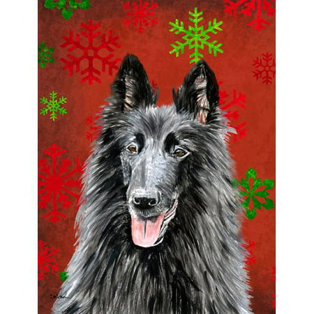 Caroline's Treasures Belgian Sheepdog Red and Green Snowflakes Holiday Christmas 2-Sided Garden Flag