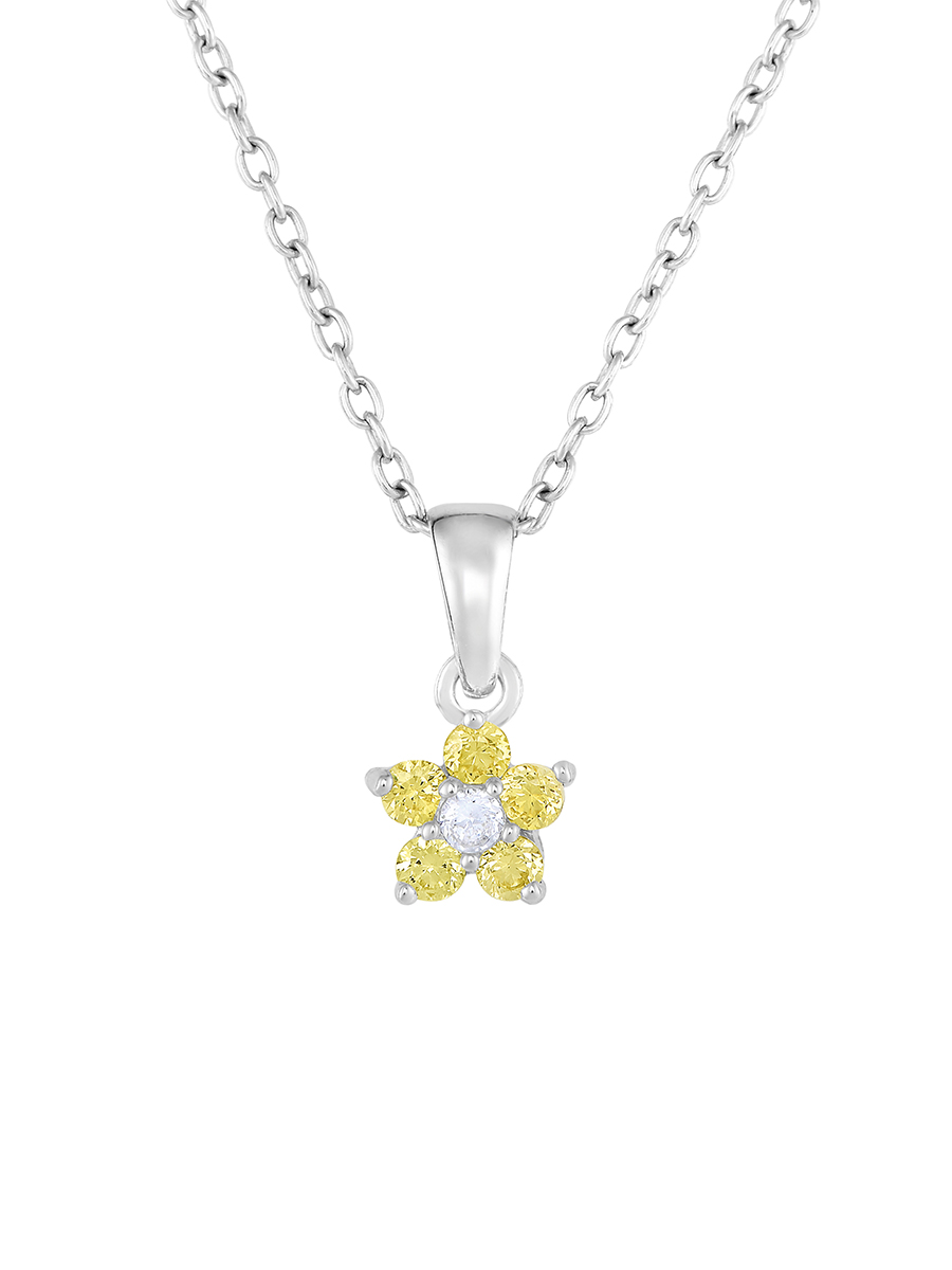 """Flower Pendant Necklace in Sterling Silver with Simulated Birthstone CZ for Girls, 16"""" (November)"""