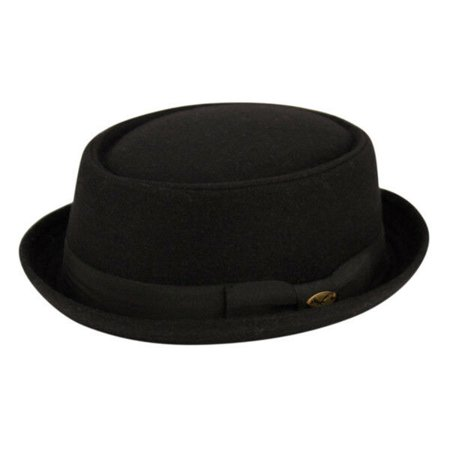 Wool Fedora Hat w/Grosgrain Band Round Shape Classic Pork Pie Stingy (Mens Pork Pie Hat)