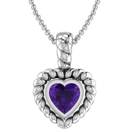 Brass Filigree Heart-Shaped Purple Amethyst Necklace