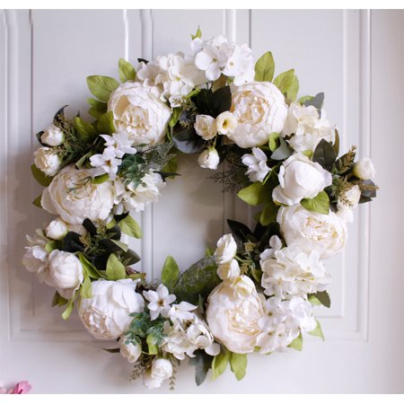 Artificial Peony Flower Wreath 15 White Flower Door Wreath With