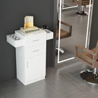 UBesGoo BarberPub Locking Salon Storage Hair Station Cabinet wite Hair Dryer Holder Drawer White