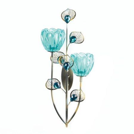 Sconces Wall Decor, Mounted Decorative Rustic Peacock Blossom Duo Cup Sconce ()