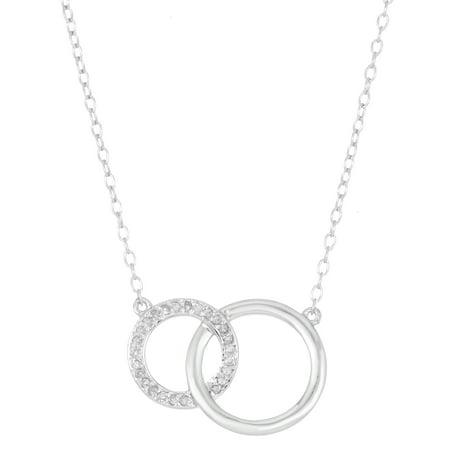 Lavari - .125 cttw Diamond Sterling Silver Interlocking Circles Necklace Pendant on an 18